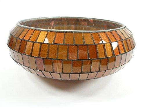 Bezaubernde Mosaik - Schale 20cm Dekoschale Glasschale Tischdekoration Kerzenhalter (orange)