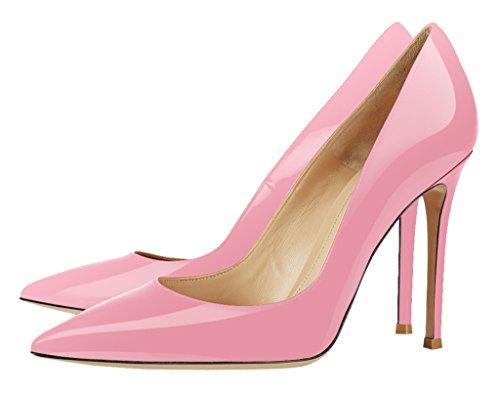 Guoar High Heels Damenchuhe Glitzernd Pumps Lackleder Spitze Zehen Süßigkeit Farben Stiletto Party Hochzeit Pink