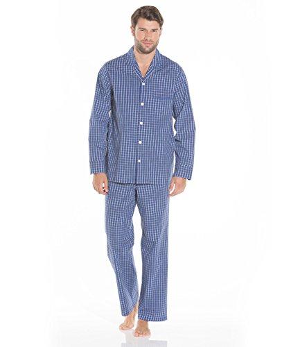 Savile Row Men's Navy Blue White Check Pyjamas Navy Blue White