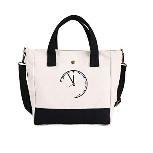 Kairui Griff-Einkaufstasche, Baumwollsegeltuch-Crossbody-Umhängetasche Geldbörse Reisetasche Shopping Hobo Multifunktionstasche (rot/schwarz/blau) (Color : Black)
