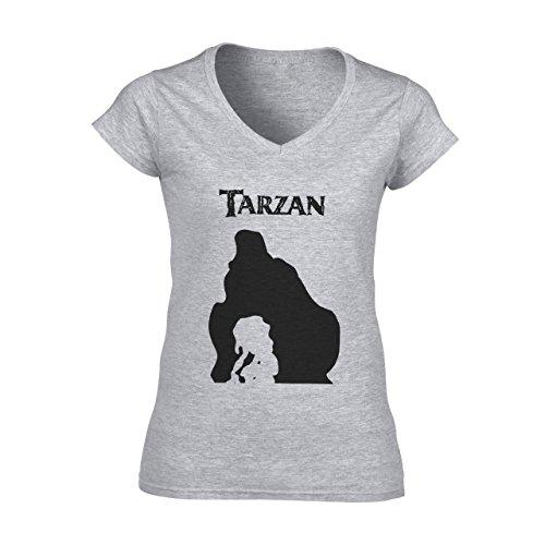Tarzan Movie Art Damen V-Neck T-Shirt Grau