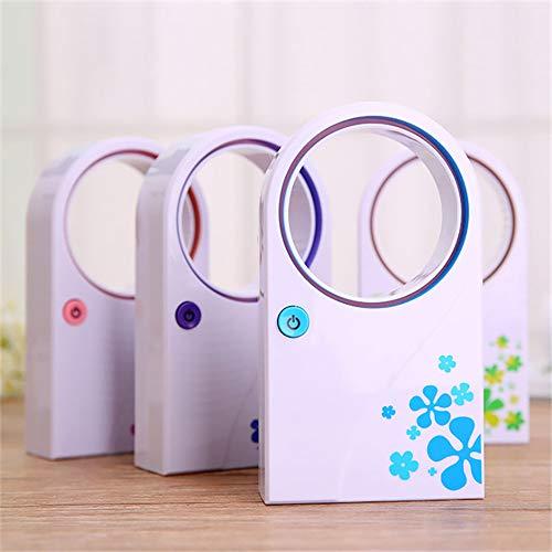 Mini Kreative Blattlosen Elektrischen Ventilator Sommer USB-Batterie Dual-Use-Kleine Fan Handheld-Klimaanlage Lüfter (2PCS),Green