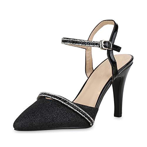 SCARPE VITA Damen Slingpumps Glitzer Pumps Stiletto High Heels Party Schuhe 168277 Schwarz 38