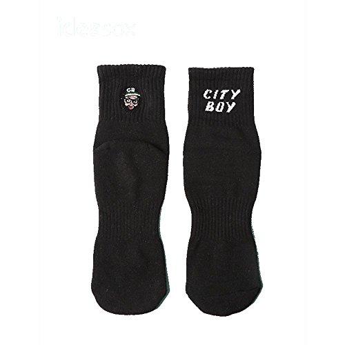 ZXXXFR Männer und Frauen in der Tube Socks Persönlichkeit Stickerei aus Reiner Baumwolle Socken Reine Farbe Paar Socken Studentenbewegung Uniform Code 5 Doppelzimmer, Schwarz