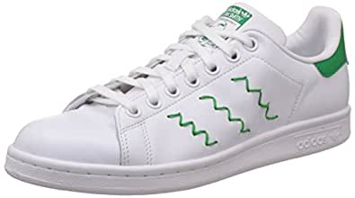 adidas Originals Women's Stan Smith W White and Green Leather Sneakers - 8 UK