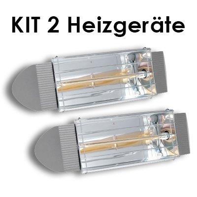 Kit 2 Infrarot- Wärmelampen , geschütztes Design . Infrarotheizung 750 Watt-Birne GOLD hohe Strahlungseffizienzenthalten. Reflektor aus Aluminium mit lackierter Aluminiumlegierung . Halterung zur Verankerung an den Wänden und auf mobilen Trägern .
