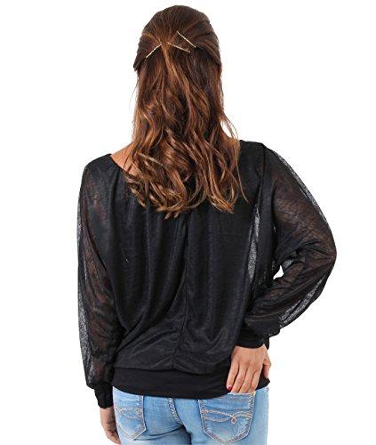 KRISP Damen 2in1 Oberteil Chiffon Top Elegante Bluse Schwarz (7214)