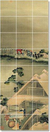 KATSUSHIKA HOKUSAI UKIYO-E DEL DISEñO TRADICIONAL CONSTRUCCION INTERIOR  24 X 162 56 CM CON (24) 8 X 8 AZULEJOS DE CERAMICA