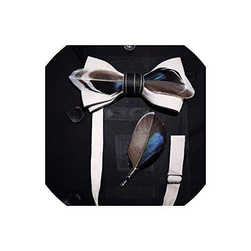 Handmade Feather Bow Tie And Brooch Set For Men Bowtie Breastpin Set With Box For Wedding,Bowtie Pin Paperbox5 Navy Silk Bow Tie