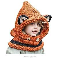 Sombrero De Zorro De Dibujos Animados Protección Para Los Oídos Gorro Cálido Bufanda De Otoño E Invierno Lindo Sombrero Tejido A Mano Para Niños Adecuado Para Niños Y Niñas De 3 A 12 Años,Orange