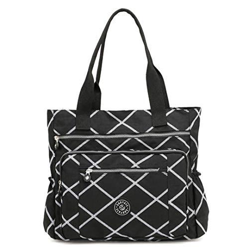 Frauen High-Grade Nylon Handtasche Casual Große Umhängetasche Hohe Kapazität Tote Marke Design Wasserdichte Big Bag Checkered
