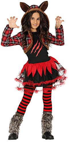Girls Tartan Scottish Hooded Werewolf Tutu Long Sleeves Animal Wolf Halloween Horror Scary Fancy Dress Costume Outfit (10-12 years)