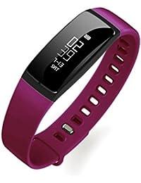 Purple : IGEMY Smart Bracelet Pedometer Wristband Bluetooth Watch Activity Fitness Tracker