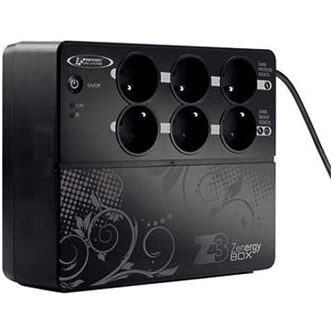 Infosec Z3 Zenergy Box, 500 VA - Fuente de alimentación continua (UPS) (500 VA, 500 VA, 50/60 Hz, 8 h, Negro, 2500 g, 0 - 40