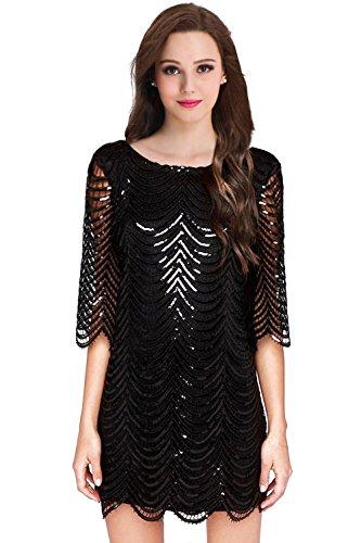 MisShow® Damen Pailletten Kurz-Arm Abendkleid Retro 1920er Cocktailkleid Schwarz (Kleider Jahre 1920er Billig)