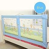 LXLX Bettgeländer, erhöhter Bettzaun, bruchsichere Babygeländer, Klappbett, Lünettenzaun, doppeltes Sicherheitsbettgeländer, tragbar (Blau/Rosa) (Farbe : Blau, größe : 180cm)