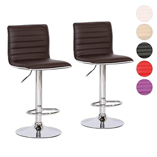 Barhocker 2er Set Tresen-Stuhl verchromter Stahl Kunstleder gepolstert höhenverstellbar Farbwahl (braun) -