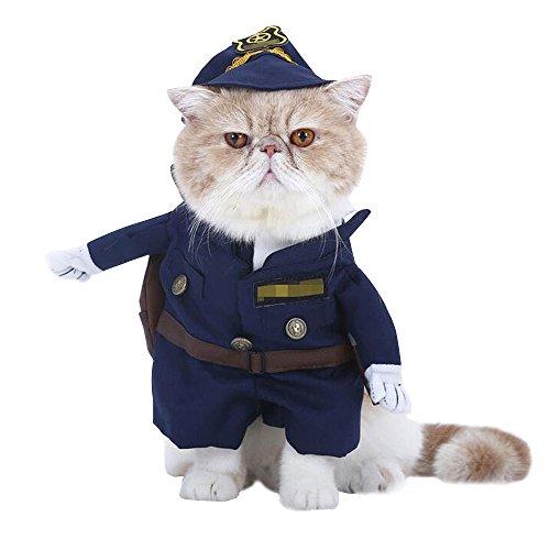 JWBOSS Hundebekleidung Polizei Für Haustiere Katze Kostüm Outfit Schal Kostüm Kleid Baumwolle-Polizist-S (Polizei Katze Kostüm)