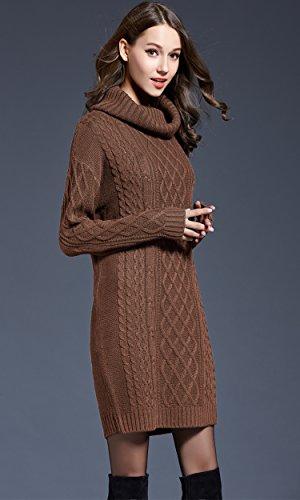Primavera Donna vintage dolcevita maniche lunghe maglia maglione pullover abito midi vestiti donna manica lunga Colore cammello
