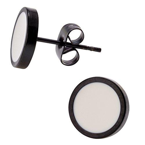Elegante schlicht klassische runde Ohrstecker Ohrringe Edelstahl Schwarz / Weiss 10mm für Damen und Herren