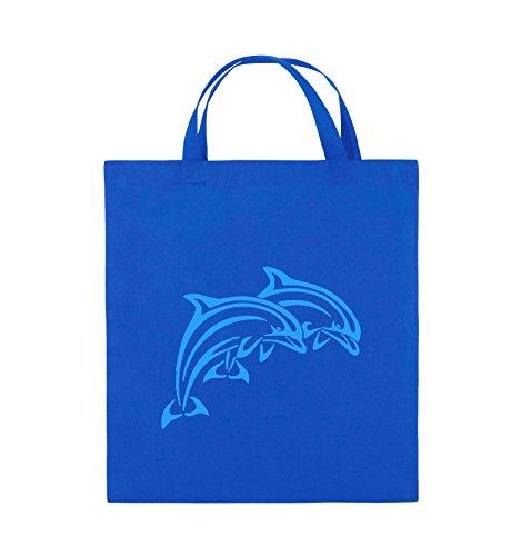 Comedy Bags - DELPHINE - Jutebeutel - kurze Henkel - 38x42cm - Farbe: Schwarz / Silber Royalblau / Blau