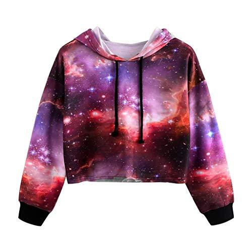 Zum Kostüm Verkauf 90er Jahre - Iwähle ♥ Frauen Langarm Hoodie Pullover Sternenhimmel Print Sweatshirt Bluse Tops (S)