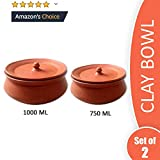 Clay Dahi Handi/Dal Handi/MItti Handi/Curd Bowl with Lid in Brown Color- M (Set of 2) are good for health