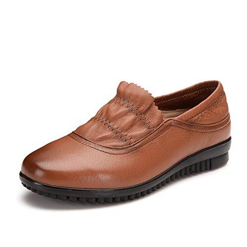 Leder flach Mittel- und alten Alter Damenschuhe/Mama und Freizeit Schuhe/Weich unten Schuhe für ältere Menschen/ Damenschuhe/einzelne Schuhe B