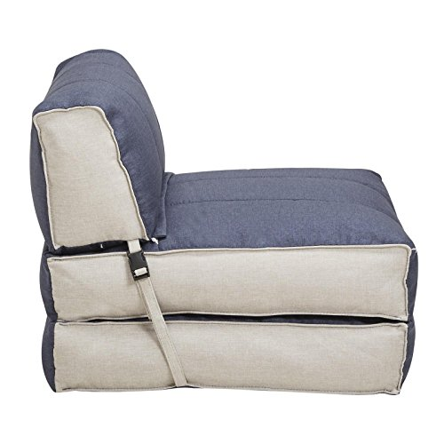Sessel Schlafsessel Gästebett TOGO Stoffbezug in blau hellgrau, 70x188 cm Liegefläche klappbare Rückenlehne