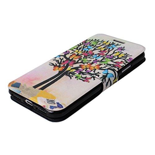 iPhone X Hülle, iPhone 10 Handytasche Rosa Schleife Premium PU Ledertasche Flip Wallet Book Case Slim Cover Bunte Muster Etui Klapp Hülle Magnetverschluss Kartenfach Handyhülle für iPhone X / 10 5.8 Z Schmetterling Baum