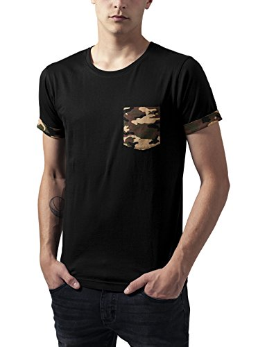 Urban Classics Herren T-Shirt Camo Contrast Pocket Tee, Mehrfarbig (Wood Camo 396), Small (Tee Camo Fashion)