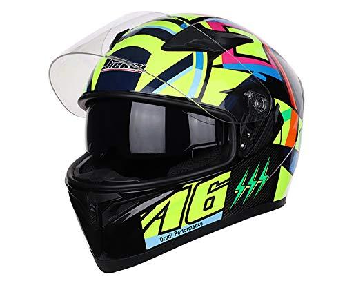 LanLan Protezione per motociclista Protezione per la testa da corsa Casco moto integrale unisex, JK-A6, XXL