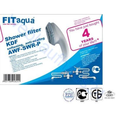 Fit aqua AWF-SWR-P-ANM-W Duschfilter, KDF, 1/2 Gewinde, Kalkfilter für Dusche & Badewanne