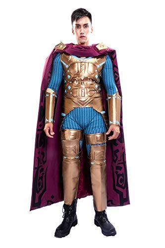 Wellgift Mysterio Kostüm Cosplay Erwachsenen Herren Ganzanzug Overall mit Umhang Halloween Verkleiden Jumpsuit Bodysuit Film Zentai - Comic Con Kostüm Für Jungs