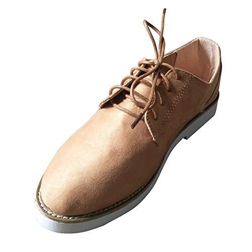 OSYARD Damen Stiefel Boots Booties Schnürstiefelett,Elegant Mode Winter Stiefel Gummistiefel, Frauen Runde Kappe Einfarbig Lace-Up Schuhe Sportschuhe Wildleder Ankle Stiefeletten(235/38, Braun)