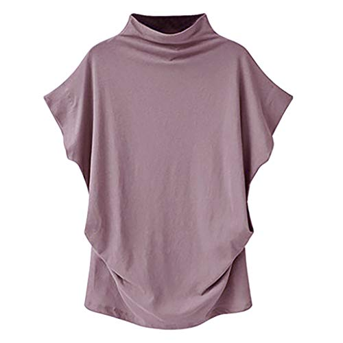 VWsiouev Vintage Short Sleeved Fashion Unregelmäßige Hemdbluse für Frauen Rollkragen Kurzarm Baumwolle T-Shirt - Schwarzes Jersey, Drape-Ärmel Top