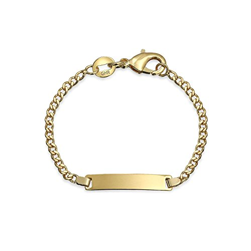 Bling Jewelry Laiton plaqué Or 18K Petit Engravable ID TAG Identification Bracelet Dainty léger pour Les Petits Poignets 5 Pouces