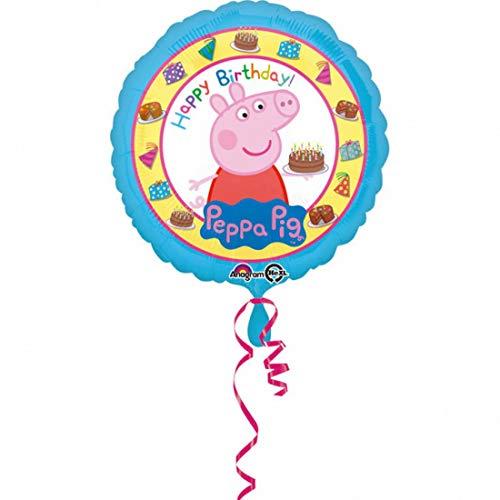 balloonisima - XL Folienballon - Happy Birthday Peppa Pig Wutz Motiv - 43cm - perfekte Geschenkideen zum Geburtstag Valentinstag Hochzeit, Party Dekoration, Blau (Peppa Pig-happy Birthday)