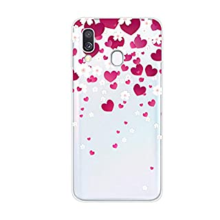 Aksuo for Samsung Galaxy A40 Case,Women Girls boy Men Printed Transparent Clear Design Plastic Case with TPU Bumper Protective Cover,Peach Heart Plum