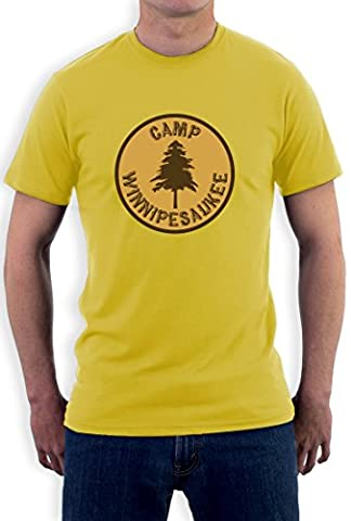 Camp Winnipesaukee Funny Camping Outdoors Holiday Men Yellow Small T-Shirt