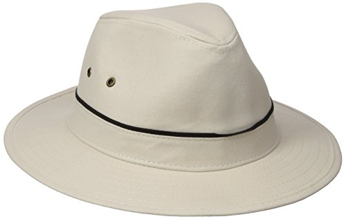 san-diego-hat-co-mens-25-inch-brim-cotton-twill-outdoor-fedora-stretch-fit-sweat-band-stone-one-size
