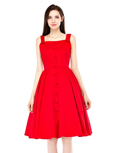 EnjoyBridal®Rétro Vintage Robe Sans Manche avec Boutons 50 Rockabilly Swing Femme Robe de Cocktail/Soirée Rouge