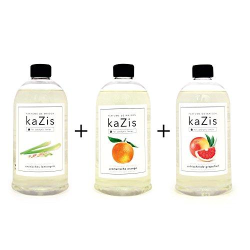 KAZIS Duft-Set I Passend für alle katalytischen Lampen I Lemongras + Orange +Grapefruit I 3 x1 Liter I Nachfüll-Öl I 3 x 1000 ml -