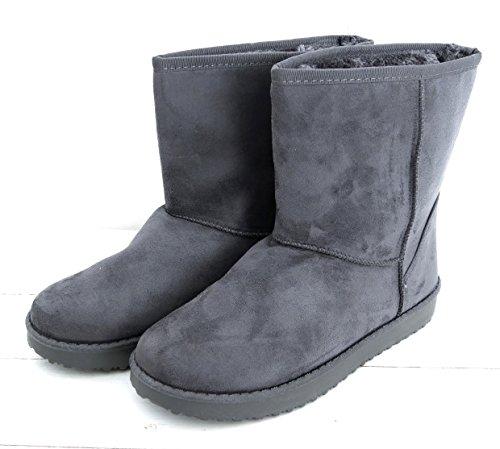 Damen Schuhe Boots Flats Teddy Stiefel Stiefelette Velourhaptik warm gefüttert (8343) Anthrazit