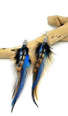 Ethnic Feather - Boucles d'oreilles en plumes SORA -