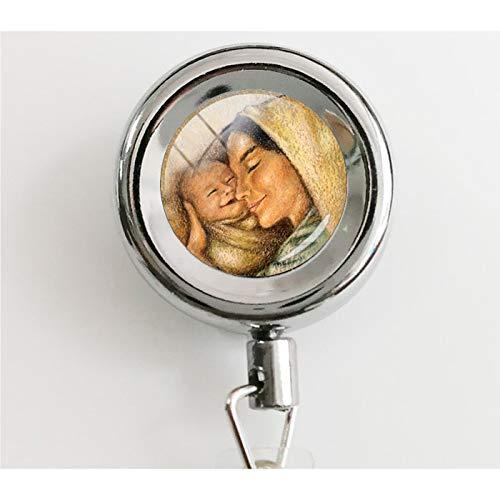 """Halskette mit Anhänger""""Love Between Mother and Daughter Forever"""" (englischsprachig), einziehbar, mit wasserdichten Ausweishaltern und Schlüsselanhängern"""
