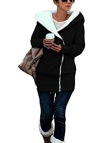 Minetom Manteau femme chaud parka hiver fourrure avec capuche Militaire Style Sweatshirt Pullover Casual Hoodie Outwear Sport Noir FR 36