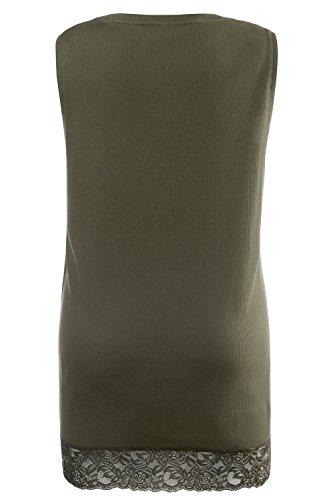 Ulla Popken Femme Grandes tailles Débardeur Femme Sans manches Vest T-shirt Coton Caraco Top t-shirt dentelle blouse courtes manches 704840 kaki foncé