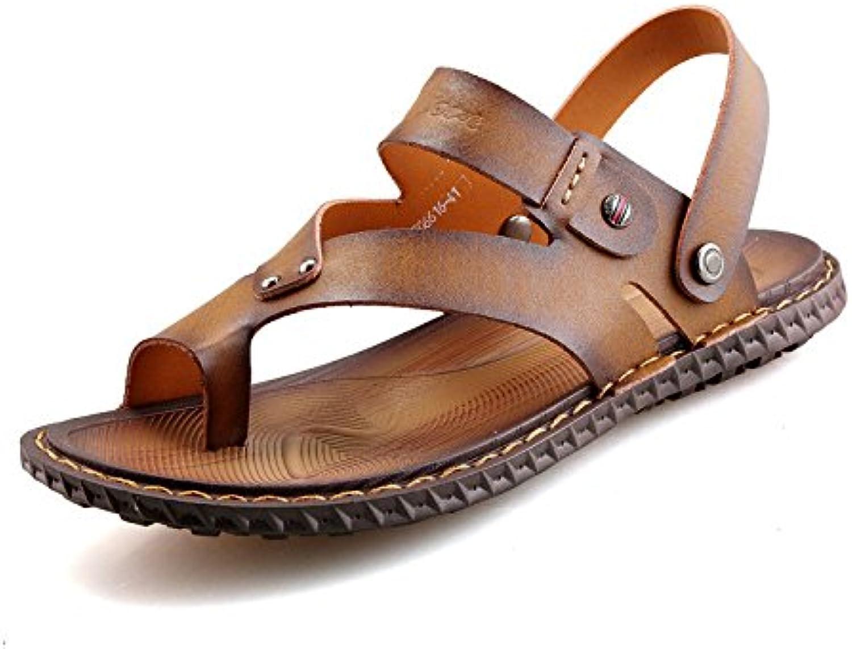 Sandalias De Verano para Hombres Beach Al Aire Libre Zapatillas Casuales Clip Toes Sandalias De Cuero Cómodas