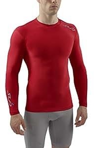 Sub Sports Herren Cold Kompressionsshirt Thermisch Funktionswäsche Base Layer langarm, Rot, S